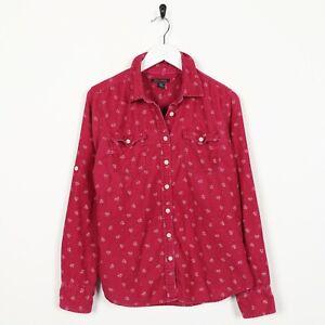 Vintage-para-Mujer-Camisa-de-pana-TOMMY-HILFIGER-Abstracto-Rosa-Pequeno-S