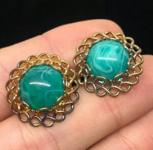 VTG Sterling Silver Jade Art Glass Chinese Earrings Gold Tone 925 Screw back