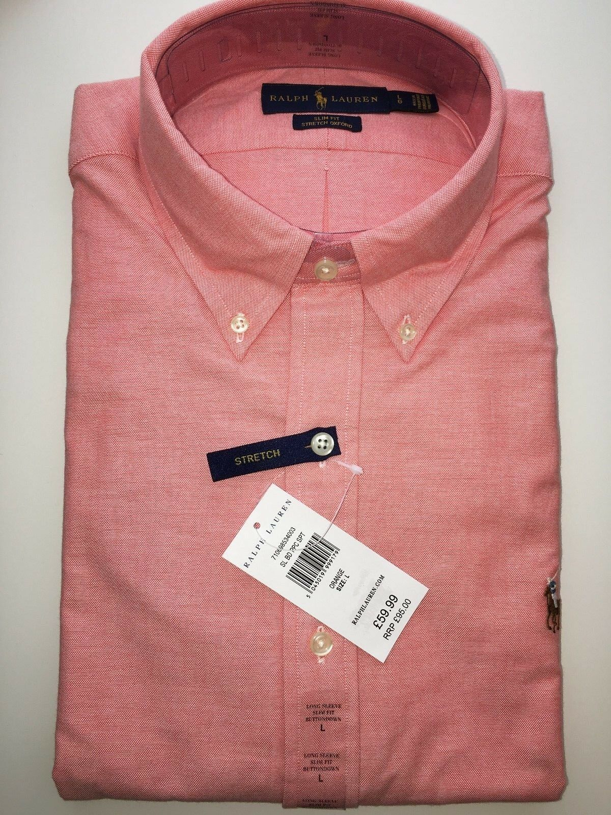 POLO RALPH LAUREN SLIM FIT allungato Oxford Oxford Oxford Button-down shirt PRP 56d7ea