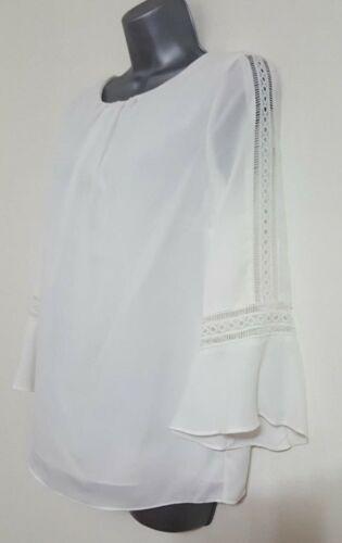 Nouveau Ex Wallis dentelle blanche Contraste Flare manches en mousseline de soie travail chemisier femme Taille 8-20