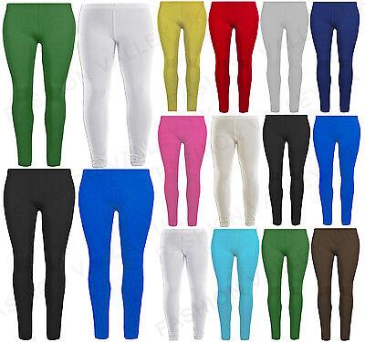 GUBA Ladies Plain Cotton Leggings Stretchy Jegging Pants Cotton