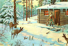 """Vintage Leanin 'Tree Card: """"Christmas Morning Hand Out"""" Animals at Log Cabin"""