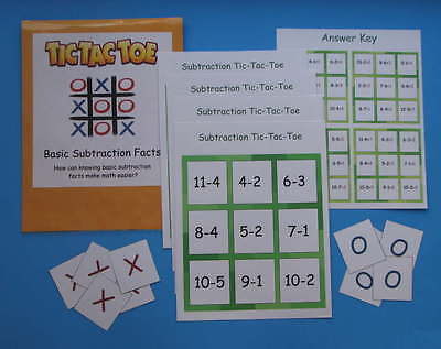 Teacher Made Math Center Resource Game Subtraction Tic-Tac-Toe Subtraction Facts