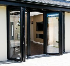 Aluminium Bi Fold Door Inc Glass, New 4 Panel Bifold Doors Grey ...