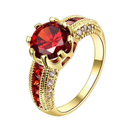 Mariage Cadeaux Rouge Femmes couleur bijoux rose gold ring Zircon Jaune Plaqué Or