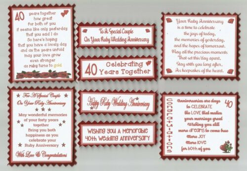 4 MILESTONE WEDDING ANNIVERSARY Greeting Card Verse Toppers W//WO Sentiments
