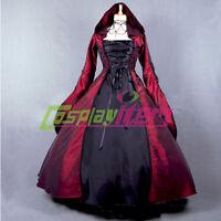 Dark Red Gothic Lolita Medieval Renaissance Victorian Ball Gown Dress Costume