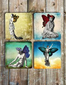 Fairy-Drink-Coasters-Set-of-4-Non-Slip-Neoprene-Vintage-Ladies-Butterfly-Wings