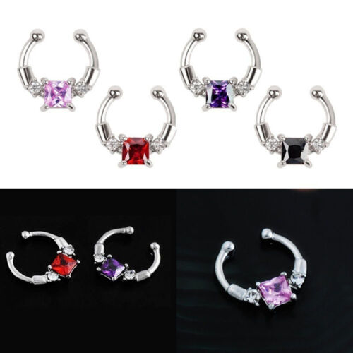 Steel New Zircon Hoop Fake Septum Nose Ring Jewelry Clicker Non-Piercing