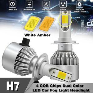 2X-110W-H7-COB-LED-Scheinwerfer-3000K-amp-6000K-Doppelfarbe-Gluehlampen-Kit-26000LM