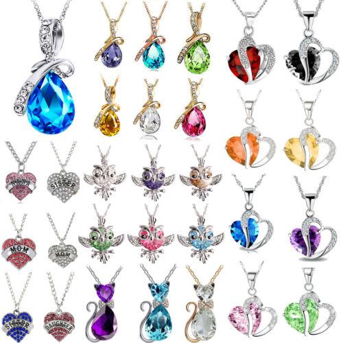 Fashion Jewelry Women Heart Crystal Rhinestone Silver Chain Pendant Necklace