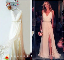 New White/Ivory Beach Wedding Dress Bridal Gown Custom Size 6 8 10 12 14 16 18 +