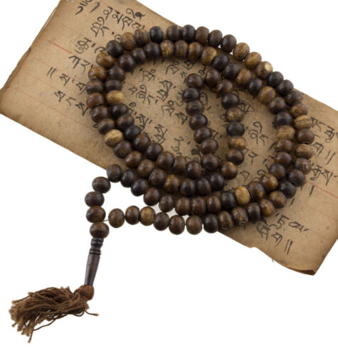 Halskette Mala chapelet Perlen Ø11mm Om Buddhistisches tbetain tibet 1934 S1