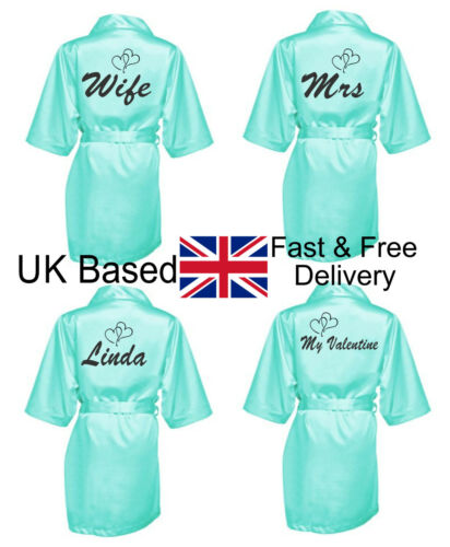 Personalised Valentines Dressing Gown MINT Robe Gift Fiance Mum Wife Girlfriend