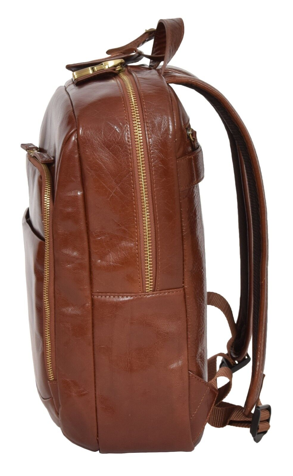 15e3203c20da Womens Real Leather Backpack Lightweight Travel Rucksack Peru Chestnut Tan  for sale online