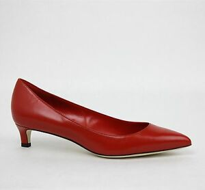 49ac37a5aeb3 New Gucci Women s Red Leather Pointed Toe Low-Heel Pump 353701 6516 ...