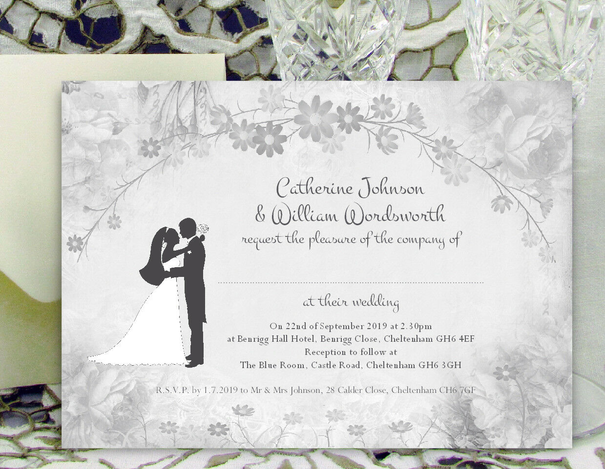 LARGE PERSONALISED WEDDING INVITATIONS Silhouette Flower Design with Envelopes