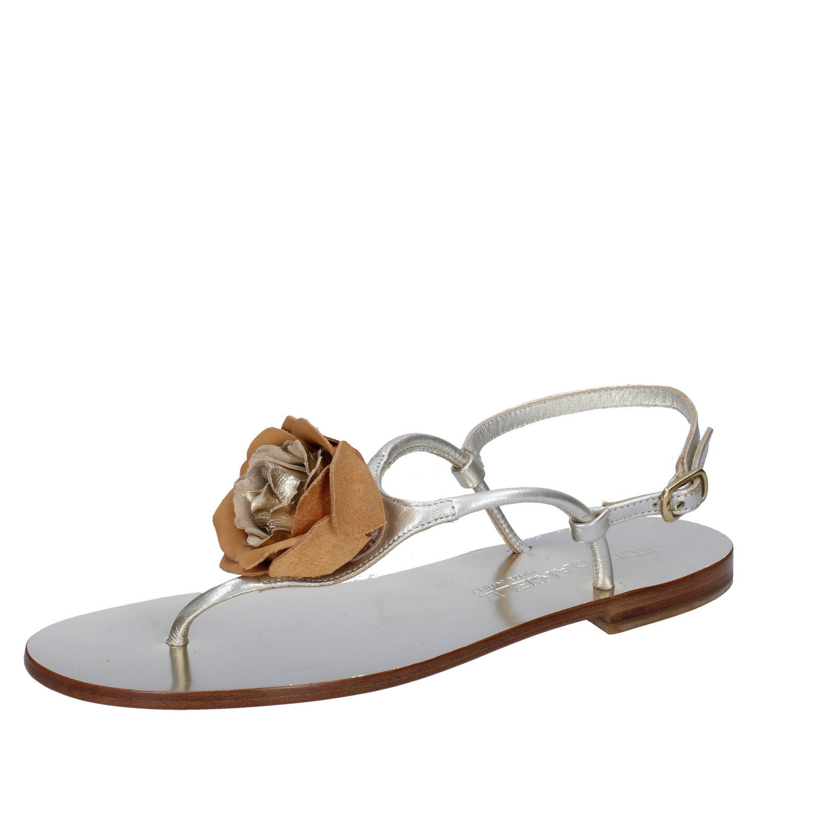 Wohommes chaussures EDDY DANIELE 7 (EU 37) sandals argent marron leather AW392-37