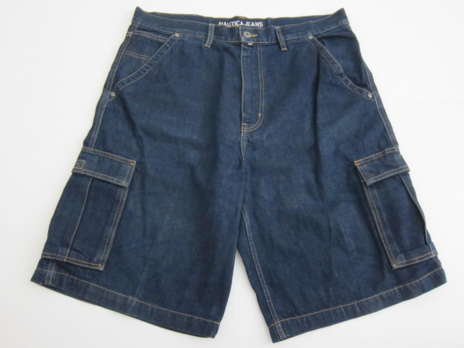 Vintage Nautica Jeans 100% Cotton Denim Cargo Shorts Men's Size 36