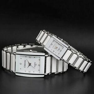 Waterproof-Mens-amp-Womens-Ceramics-Band-Rectangle-Crystal-Quartz-Wrist-Watches