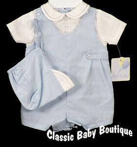 NWT Petit Ami Boys Blue Gingham Romper Hat Preemie Baby Jon Jon Premie