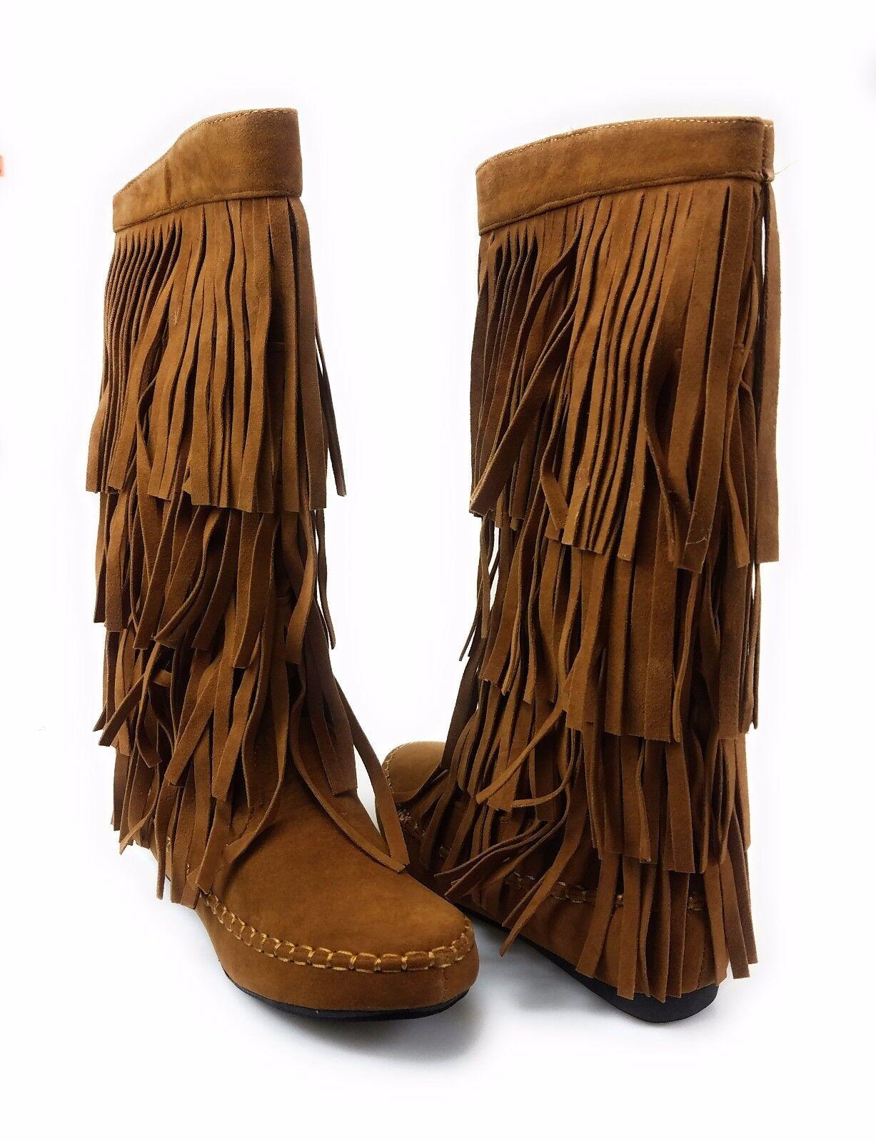 Womens 4 Layer Fringe Flat Flat Flat Boots Moccasin Mid Calf Comfy Boots Rust Yoki Mudd-55 3020e3