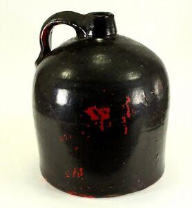 "^ Antique 1800's American Dark Brown-Glazed Stoneware Crock Jug w. Handle 10"""