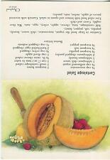 VINTAGE CANTALOUPE SALAD W/ TUNA FISH CHILI SAUCE RECIPE CARD STRAWBERRIES PRINT