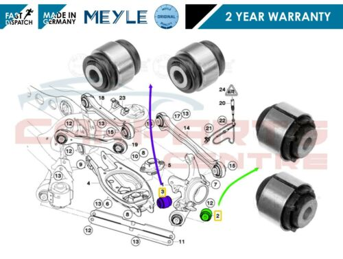 FOR BMW E90 E91 E92 E93 LCi REAR AXLE LOWER HUB BUSHES RUBBER MOUNTING MEYLE