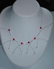 Collier étincelle rouge et cristal, bijoux mariage. collier mariée