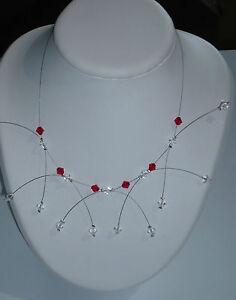 Collier étincelle Rouge Et Cristal, Bijoux Mariage. Collier Mariée Jolie Et ColoréE