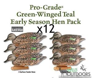 GHG-PRO-GRADE-GREEN-WINGED-TEAL-DUCK-DECOYS-12x-Hen-Pack