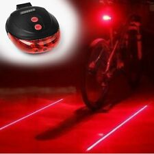 Bicycle Bike Red 2 Laser Beam 5 LED Cycling Rear Tail Warning Lamp Light UKSTOCK