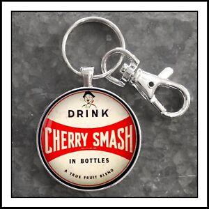 Vintage Cherry Smash Sign Photo Keychain Gift Pendant Free Shipping