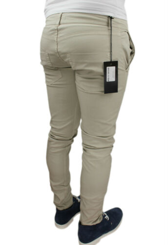PANTALONI UOMO SGHEBO ITALY PANTS BEIGE ADERENTI SLIM FIT STRETCH  CASUAL JEANS