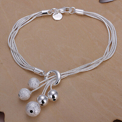 wholesale Solid SILVER Womens Bracelet/bangle lady+Gift Box Christmas gifts 925