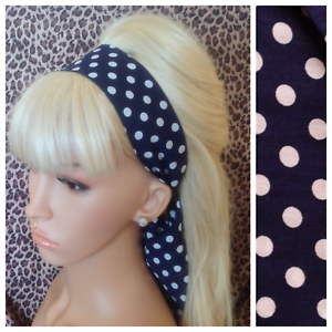 BEIGE POLKA DOT COTTON HEAD HAIR SCARF BAND SELF TIE BOW VINTAGE RETRO 50s STYLE