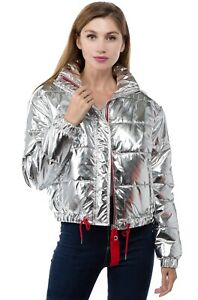 Women-039-s-Juniors-Metallic-Quilted-Poly-Filled-Winter-Fall-Fashion-Jacket-Coat