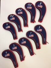 Z TECH USA IRON COVERS SET OF 10 WITH ZIPPERS, FITS IRONS, Free Shipping