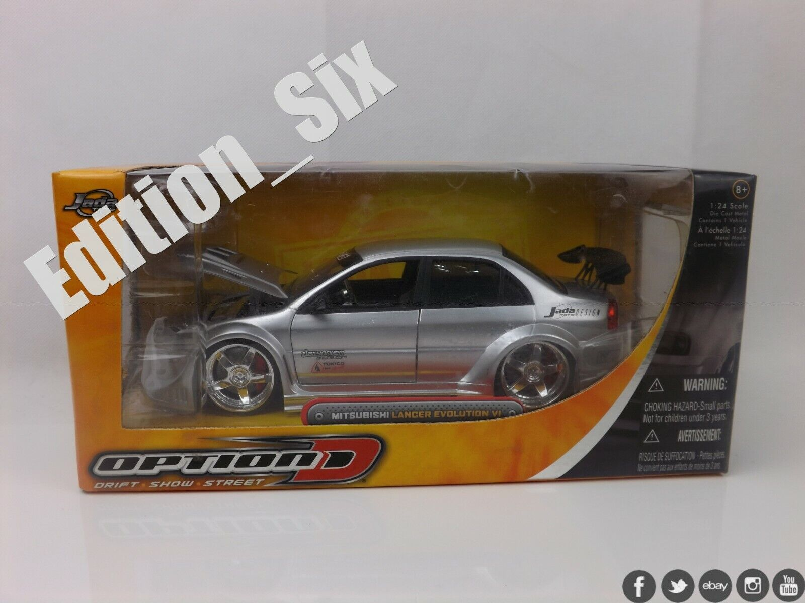 Jada Toys 1 24 Mitsubishi Lancer Evolution Evo VI 6 Caja de coche deportivo modificado JDM