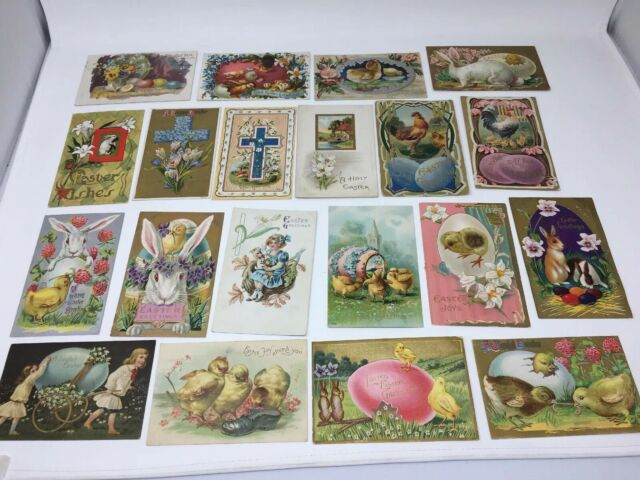 Antique Easter Postcard Lot of 20 Rabbits Chicks Eggs Embossed