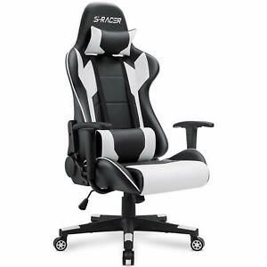Gaming Racing Office Computer Desk Chair PU Leather Swivel Ergonomic Adjustable