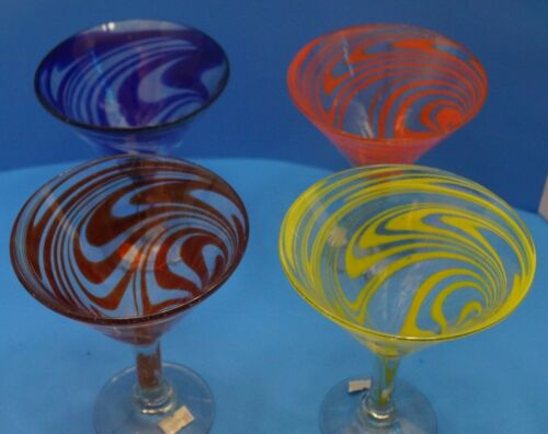 Martini Swirl Glasses, Mexican Glass, Hand Blown, Set of 4