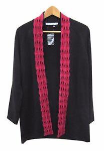 emreco-Cardigan-Negro-Talla-12-manga-larga-adorno-rosa-con-lana