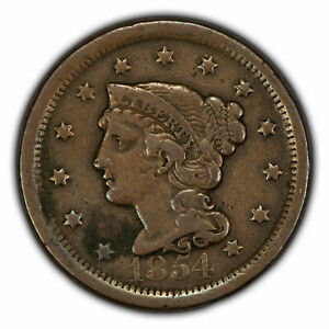 1854 1c Braided Hair Large Cent SKU-Y2860