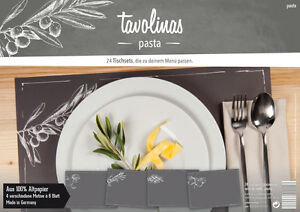 Tavolinas-Papier-Tischset-Pasta-schiefer-24-Blatt-individuell-beschriftbar