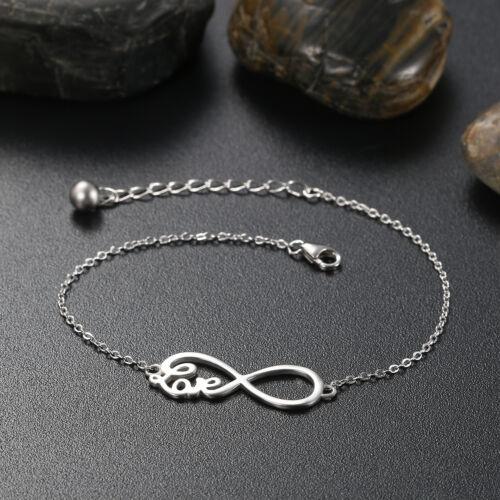 Womens 925 Sterling Silver Love Infinity Symbol Bracelet Bangle Link Xmas Gift