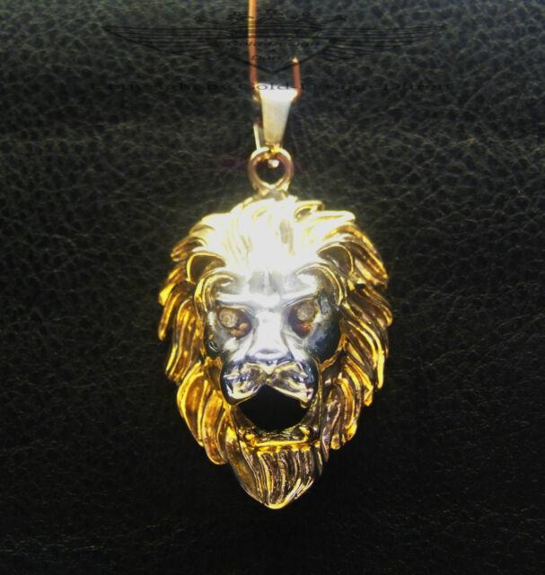 Anhänger, Löwenkopf, 24K vergoldet + versilbert, Löwe, glänzend, Biker, neu