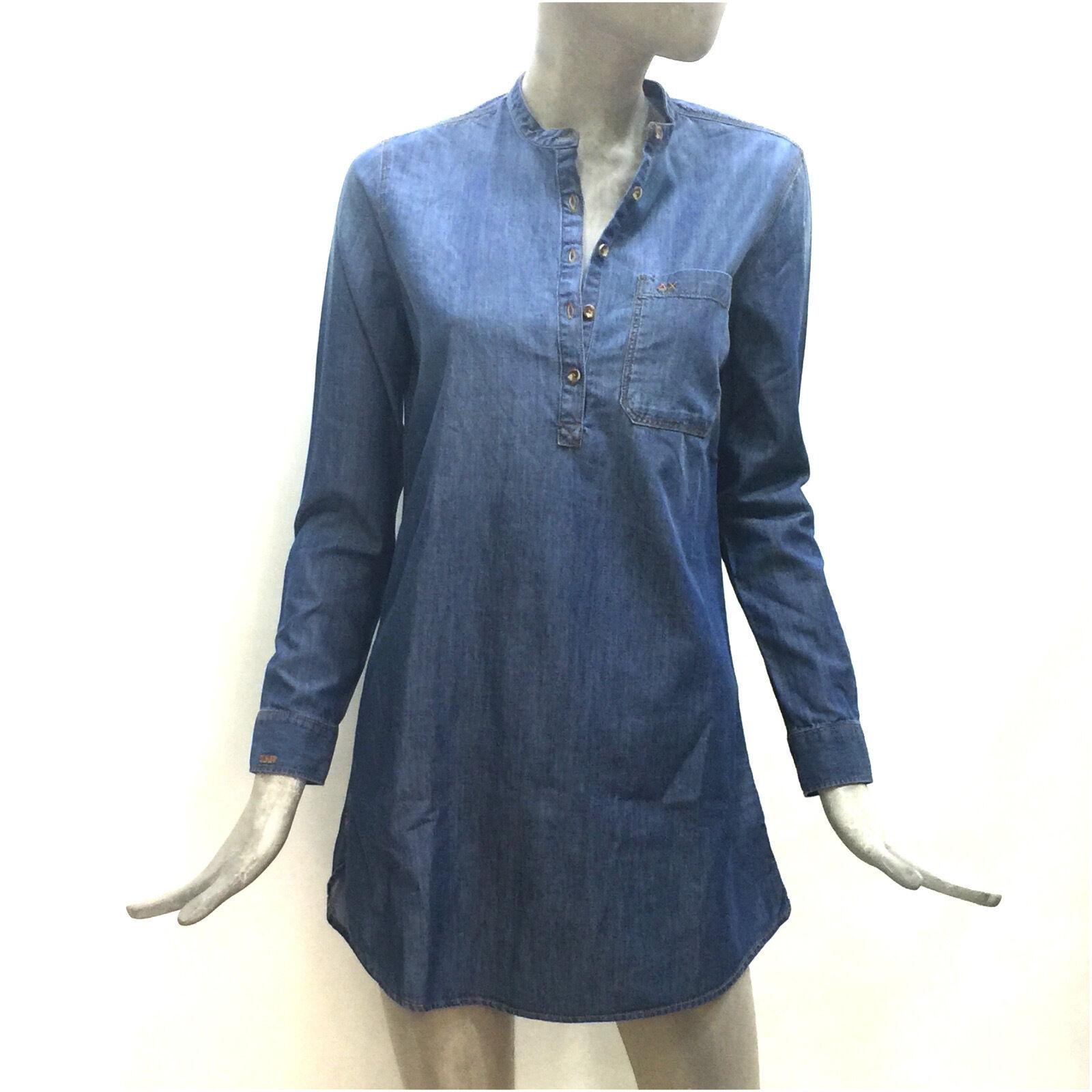 Sun68 Vestito Cotone women Abito Corto blue Dress Denim Solid Manica Lunga SW034