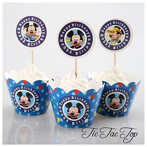 12pcs-Disney-Mickey-Mouse-Cupcake-Toppers-Wrappers-Jelly-Cup